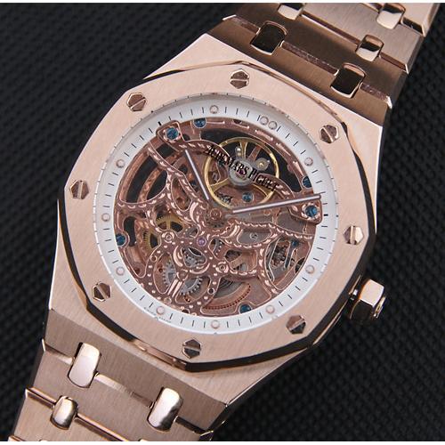 高仿爱彼ap手表 皇家橡树43mm系列 巨型 18k玫瑰金电镀表壳 骨架表盘
